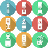 Water cooler flat round icons Stock Images
