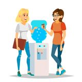 Water Cooler Gossip Vector. Modern Office Water Cooler. Laughing Friends, Office Colleagues Women Talking To Each Other. Communicating Female. Business Person stock illustration