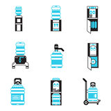 Water cooler items flat icons set Royalty Free Stock Image