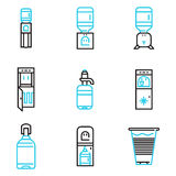 Water coolers simple line icons Stock Photography