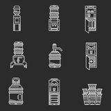 Water coolers white line icons Royalty Free Stock Images