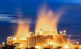 Water cooling systems tower for gas turbine electric power plant Royalty Free Stock Photography