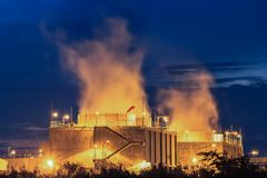 Water cooling systems tower for gas turbine electric power plant Stock Photo