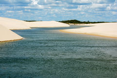 Water course Maranhao. Lençois maranhenses are a beautiful natural park that is formed by rainy season Royalty Free Stock Images