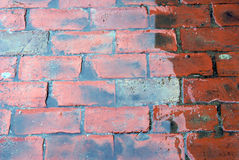 Water covered brick sidewalk. Artistic background of water covered bricks Stock Image
