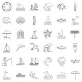 Water creation icons set, outline style Royalty Free Stock Photo