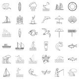 Water creature icons set, outline style Stock Photos