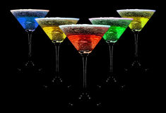 Water crown in cocktail glasses. Royalty Free Stock Photos