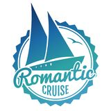 Water cruise logo design - yacht travel banner. On white background. Vector illustration Royalty Free Stock Images