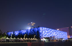 Water Cube at night. National Aquatics Center for the Beijing 2008 Olympic Games (also known as the Water Cube),This photo was taken in May 2014 Stock Images