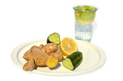 Water with cucumber, lemon and ginger Royalty Free Stock Photography