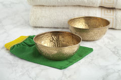 Water cups in the Hammam. Water cups in the the Hammam to wash and clean the body Stock Photography