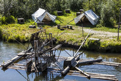 Water-current-powered fish trap. On the Chena River t the Chena Indian Village Royalty Free Stock Photo