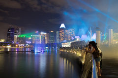 Water curtain laser show in from the Marina Bay Sands Resort Hotel. SINGAPORE-MAY 9: Water curtain laser show in from the Marina Bay Sands Resort Hotel on May 9 Royalty Free Stock Image