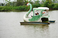 Water cycle boat. Smiling baby when ride swan water cycle boat in the river Royalty Free Stock Photography
