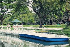 Water cycle boat in Suanluang RAMA IX Public Park Stock Images