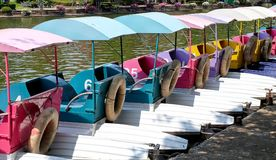 Water Cycle Boats or Pedal Boats in A Park Royalty Free Stock Photos