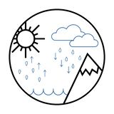 Hydrological cycle icon, The water cycle vector illustration stock illustration