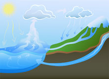 Water cycle in nature. Vector illustration. Stock Photo