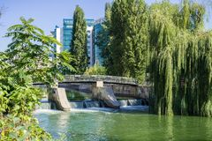Water dam and bridge over Dambovita river in downtown Bucharest, Romania. Willow trees growing on the river banks royalty free stock images
