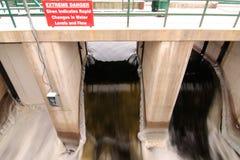 Water Dam in Muskoka. Water flowing dangerously quickly through a dam in Muskoka Stock Photography