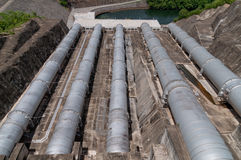 Water dam pipes. Stock Images