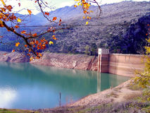 Water dam the Tranco Reservoir, Tranco de Beas Stock Photography
