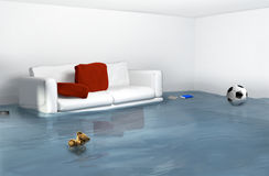 Water damage due to high water in the house Royalty Free Stock Images