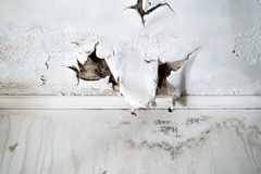 Water Damage to white ceiling royalty free stock photography