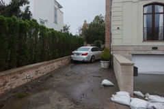 Water damaged car and flooded garage in the aftermath of Hurricane Sandy in Far Rockaway, New York Royalty Free Stock Photos