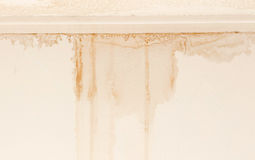 Water damaged ceiling and wall stock image