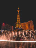 Water Dance Bellagio Part 2. Water Dance show with Eiffel Tower Royalty Free Stock Photo
