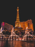 Water Dance Bellagio. Water Dance show with Eiffel Tower Royalty Free Stock Photos