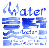Water decorative elements collection Royalty Free Stock Photography