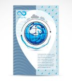 Water delivery business corporative flyer template. Graphic vector illustration. Global water circulation conceptual design, blue. Planet royalty free illustration