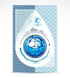 Water delivery business corporative flyer template. Graphic vector illustration. Global water circulation conceptual design, blue. Planet stock illustration
