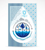 Water delivery business corporative flyer template. Graphic. Vector illustration. Global water circulation conceptual design, blue planet stock illustration