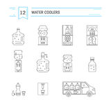 Water delivery collections. Set of  vector  line icons for water delivery business. Water bottles, water coolers, water delivery car  on white background. Design Stock Images