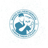 Water delivery service emblem. Royalty Free Stock Photo