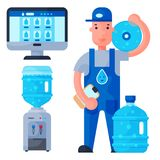 Water delivery service man character in uniform and different water bottle vector elements. Drink bottle plastic blue container business service. Mineral Stock Photos