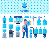 Water delivery service man character in uniform and different water bottle vector elements. Stock Photos