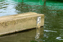 Water depth marker Royalty Free Stock Images