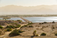 Water desalination in Eilat, Israel. Resevoirs of seawater desalinated in the desalination plant in Eilat, Israel Royalty Free Stock Image