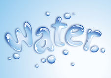 Water design. Water writen with drops shaped water Royalty Free Stock Photos