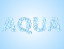 Water det droppar formade ordet AQUA - vektorbakgrund Royaltyfri Bild