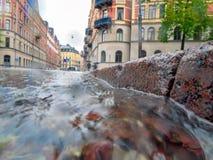 Water die een Onweersafvoerkanaal reduceren Stock Foto's