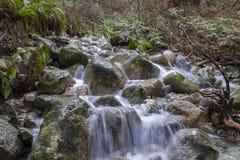 Water die over rotsen in een stroom meeslepen stock fotografie