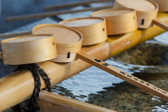 Water dippers at Gokoku Shrine in  Hiroshima castle Stock Images