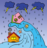 Water disaster. A big wave flooding and sweeping a dog, a cat, and two houses Royalty Free Stock Photography