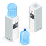Water dispenser on white background. Water cooler for office. Flat 3d isometric vector illustration. royalty free illustration